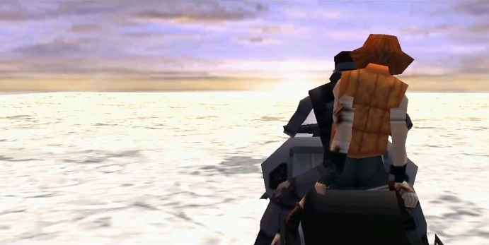 Metal Gear Solid, PSX, Snake and Meryl on the snowmobile