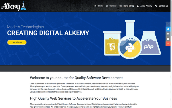 Screenshot of the original Alkemy website.