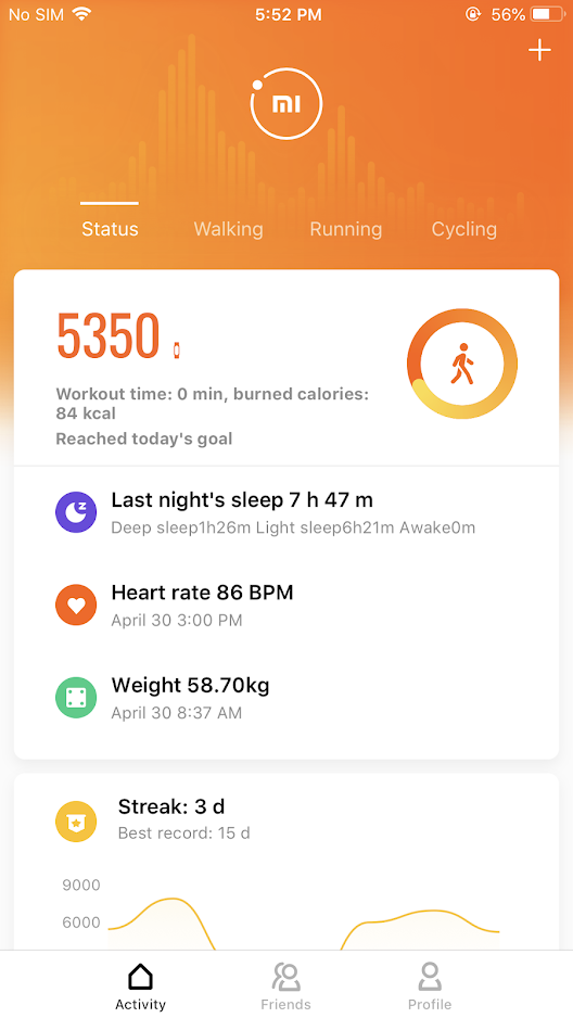 Screenshot of the Mi Fit application