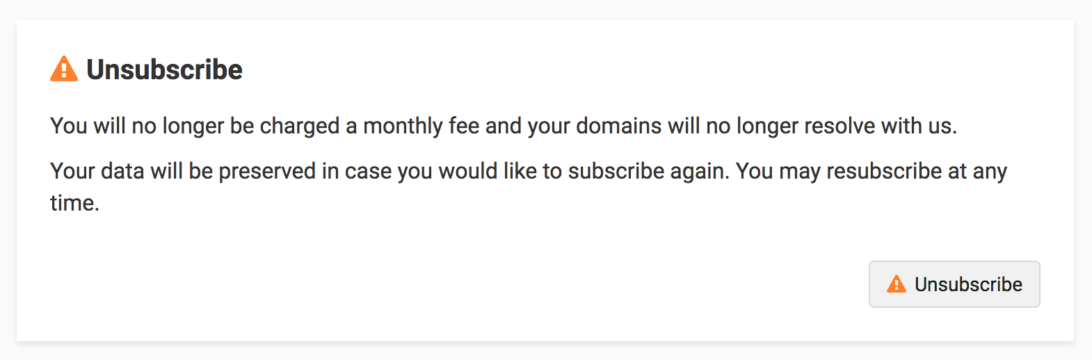 Unsubscribe section