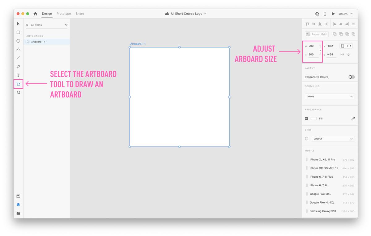 Selecting an artboard in Adobe XD