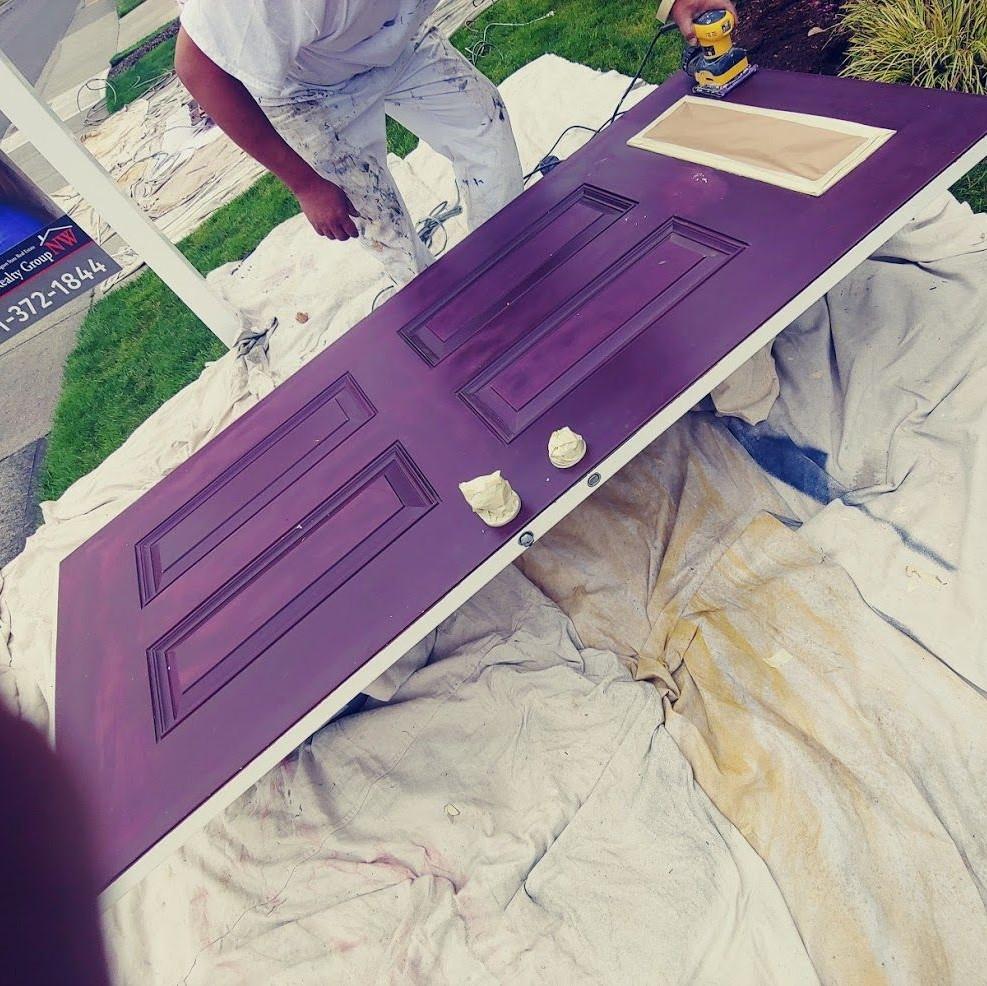 door being painted dark purple