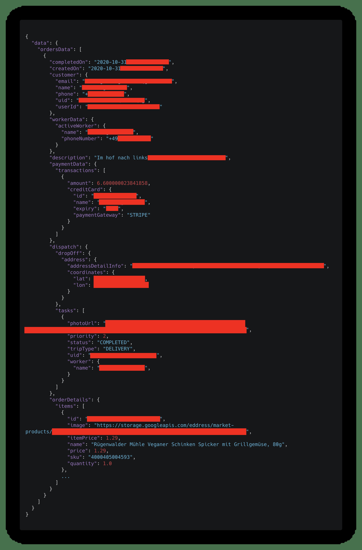 Screenshot des JSON-Returns der API. Enthält die kompletten Informationen einer Bestellung, inklusive Produkte, Betrag, Zahlungsart, Adresse, Kontaktdaten, Geokoordinaten, Bestellstatus