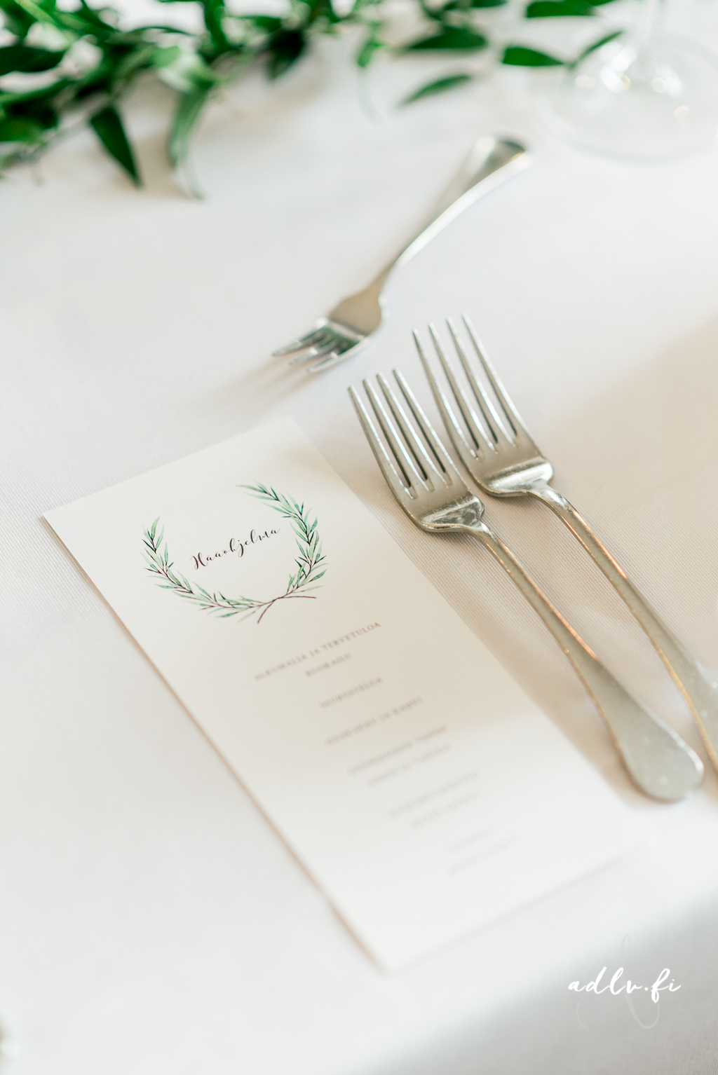 Green laurel menu design. Photo by ADLV Photography.  item