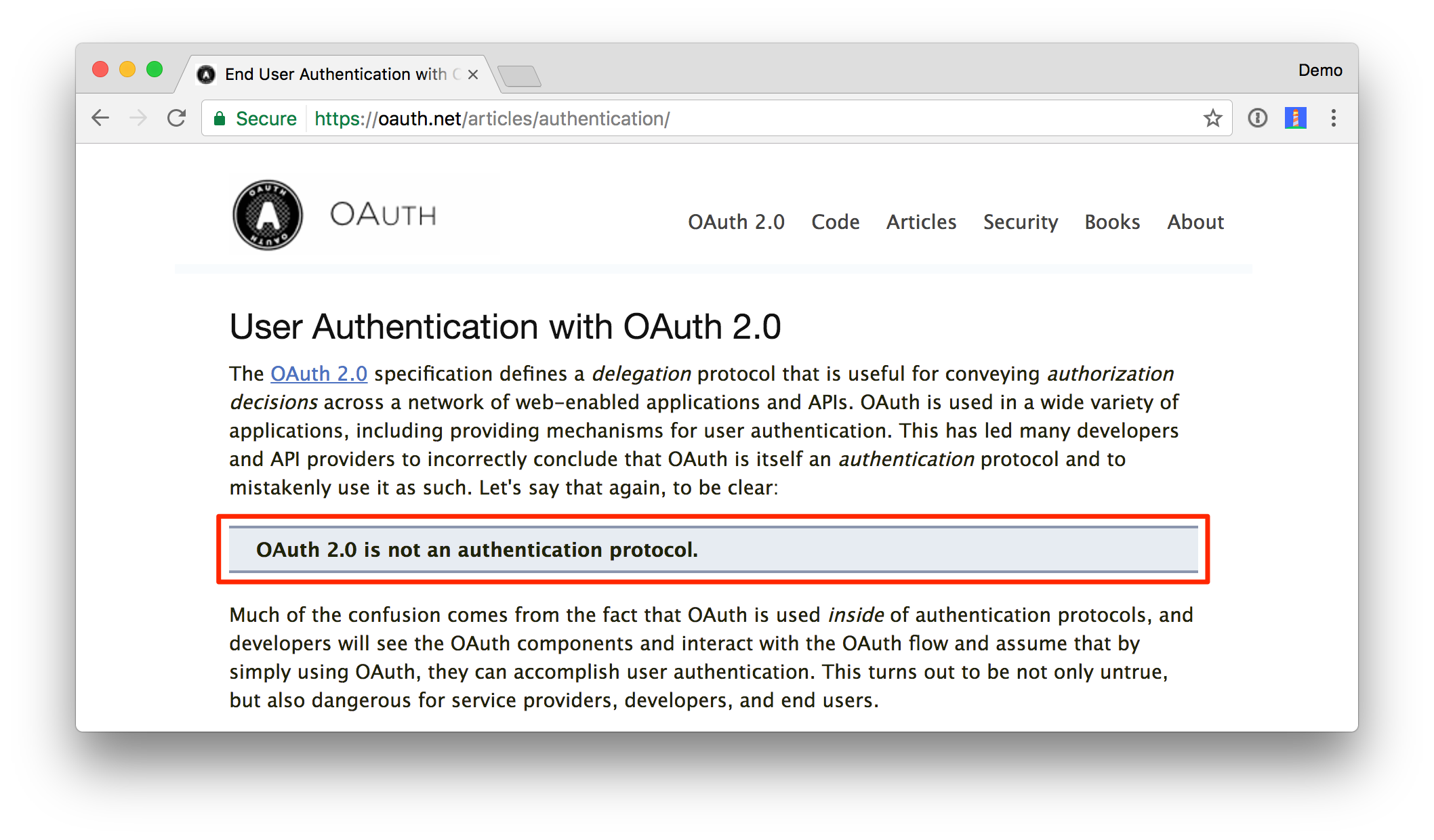 OAuth 2.0 is not an authentication protocol