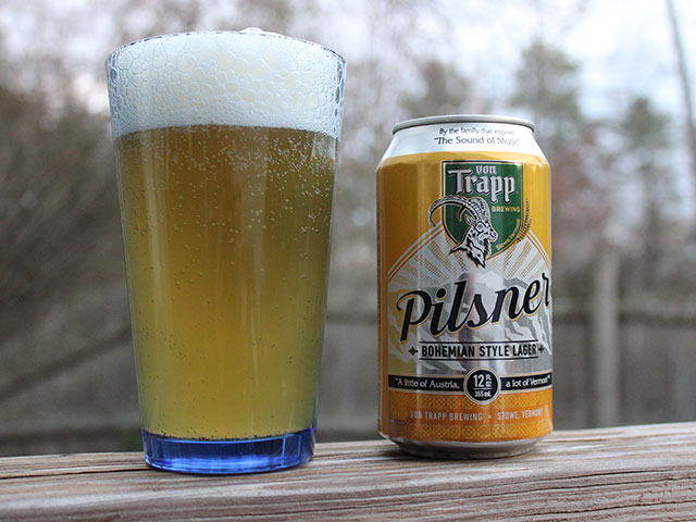 A 12oz pour of Von Trapp Brewing's Pilsner