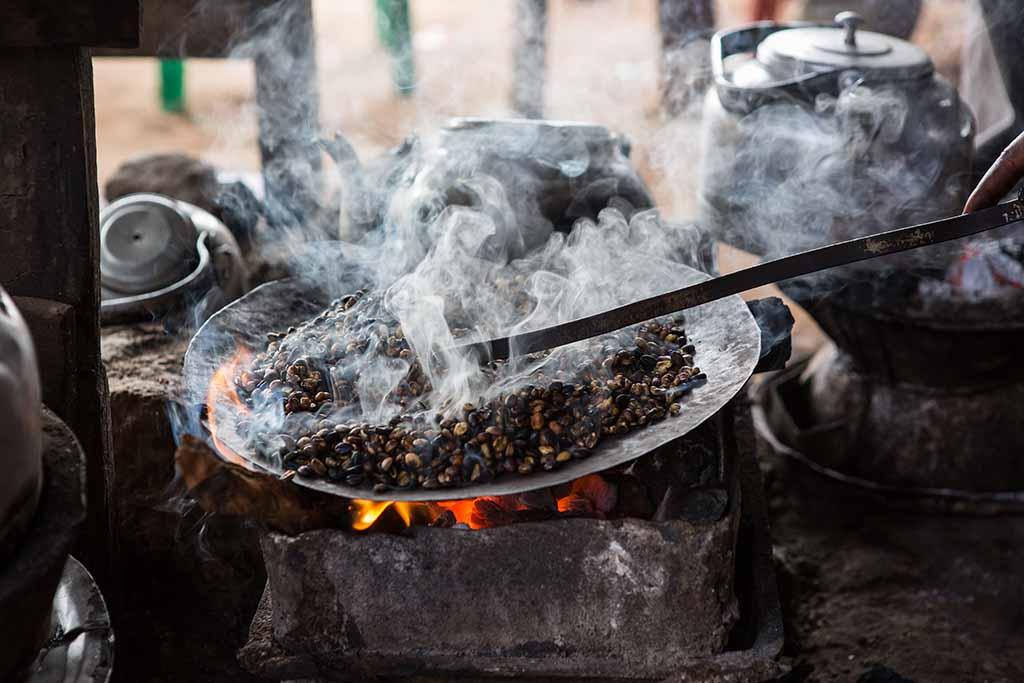 Roasting Ethiopian coffee the traditional way.
