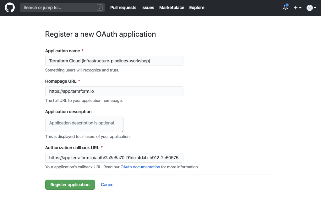 """Create a GitHub OAuth application using the values from the Terraform Cloud """"Add VCS Provider"""" page."""
