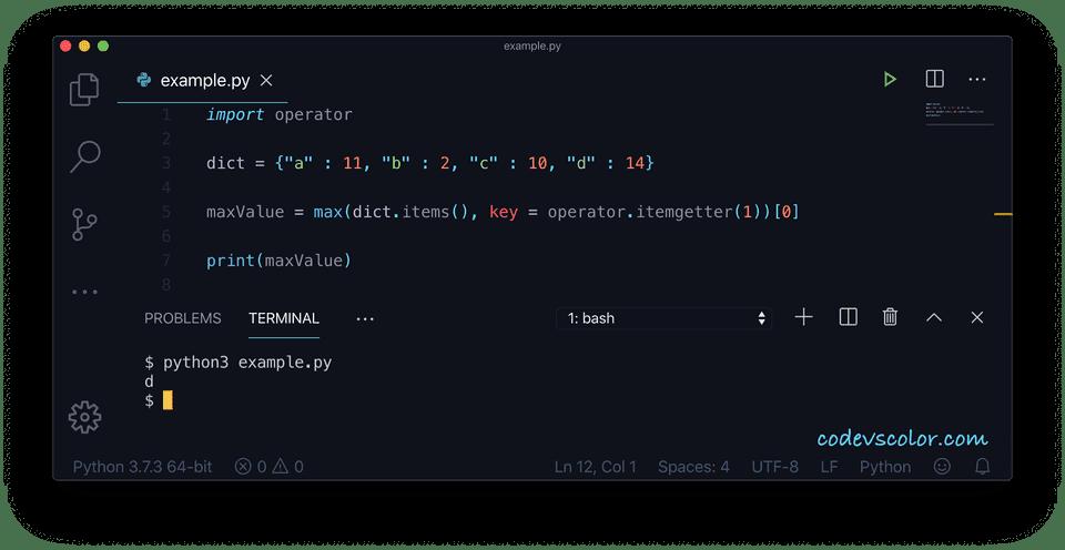 Python key maximum value example2