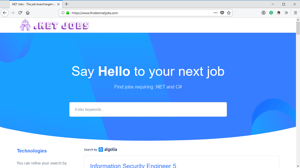 .NET Jobs Screenshot