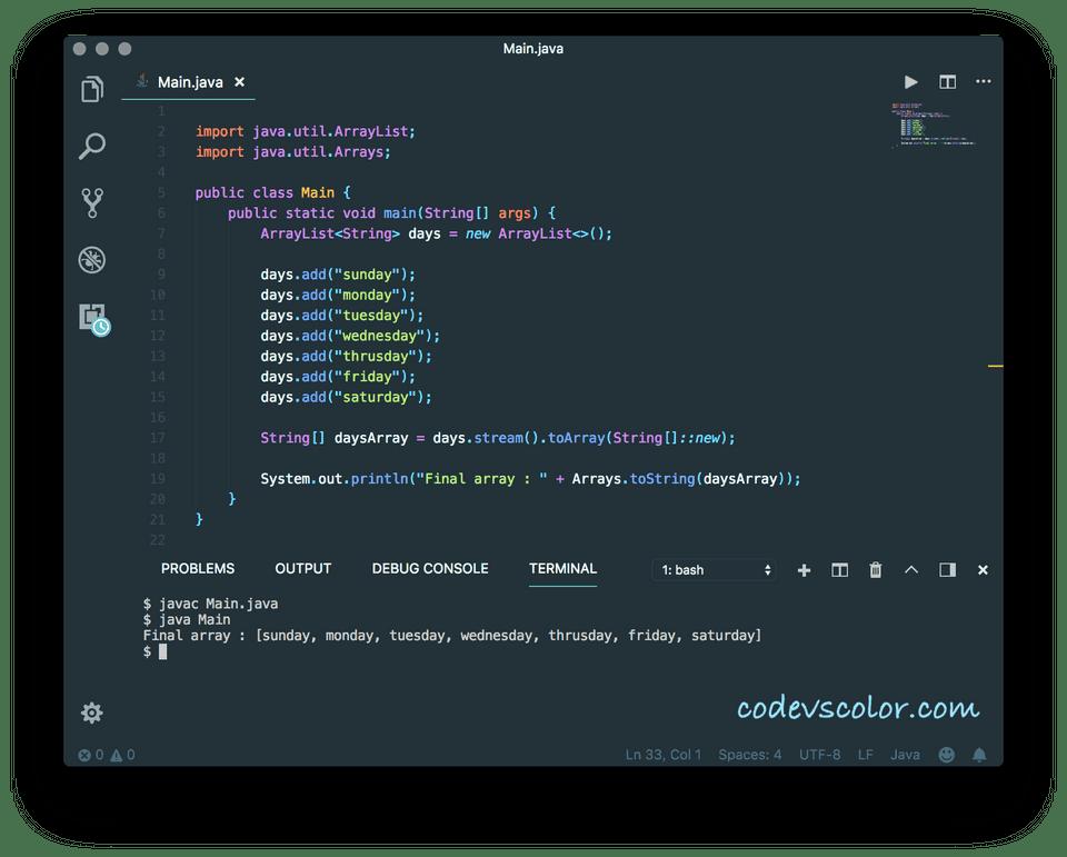 Java ArrayList to an array