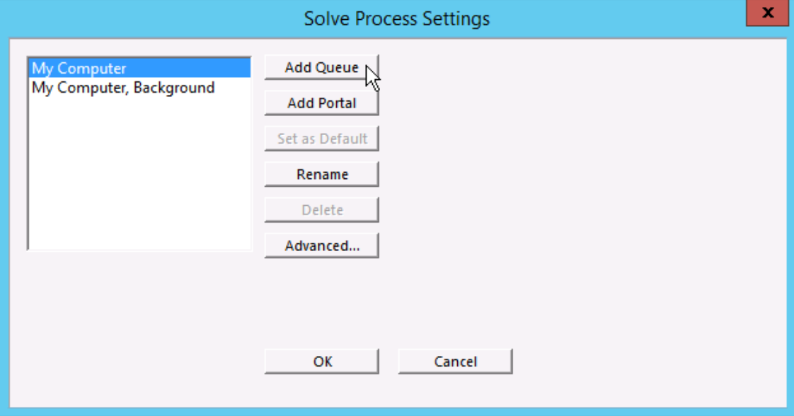 MECH GUI Solve process settings