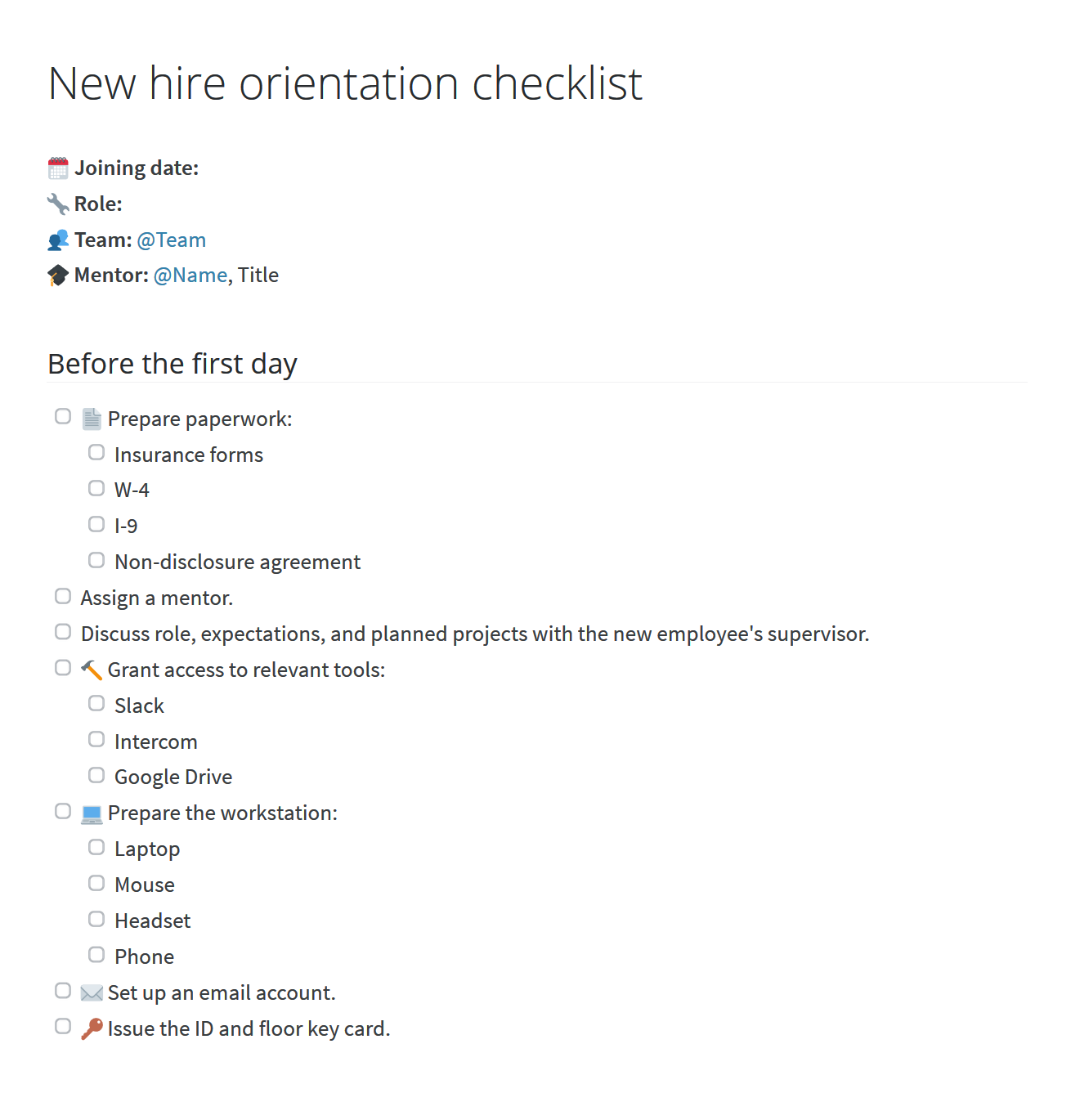 New hire orientation program checklist, before the first day