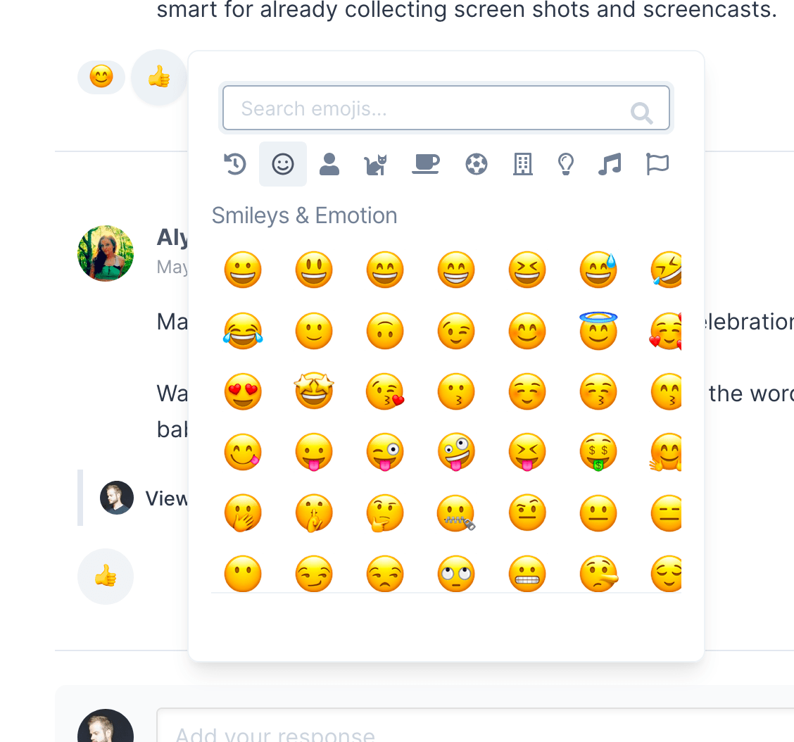 Emoji reaction support