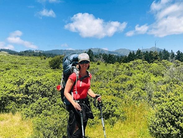 Pamela Hadfield hiking with cannabis