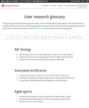 Notre glossaire des études UX en ligne