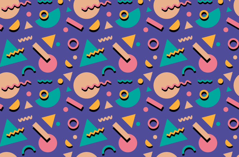 A repeating pattern in 90s flair, with floating, flat geometric shapes in bright colors.