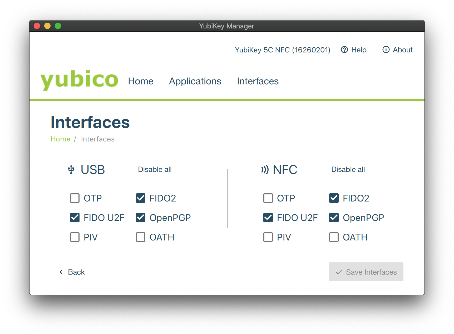 Enabled YubiKey Interfaces
