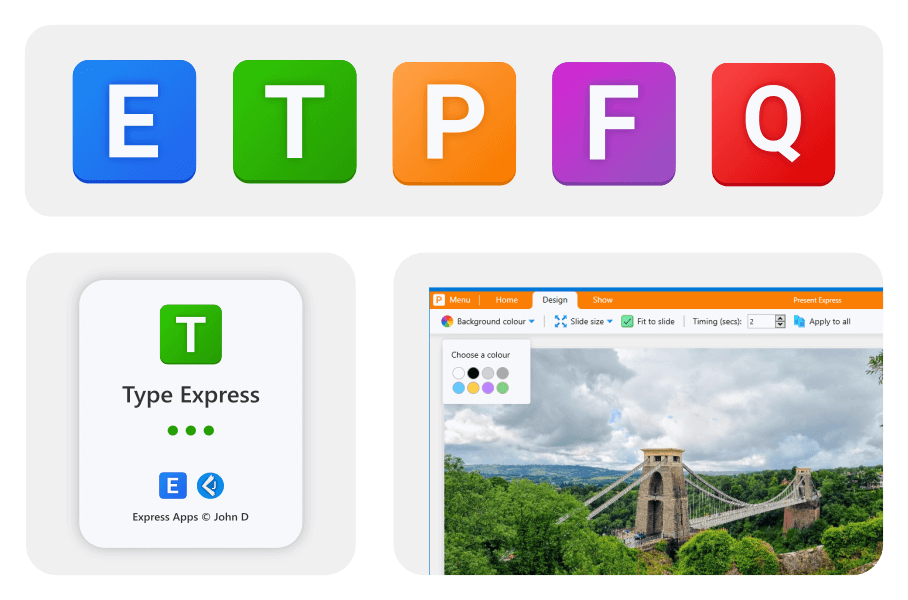 Upgraded logos and branding across the Express Apps collection.