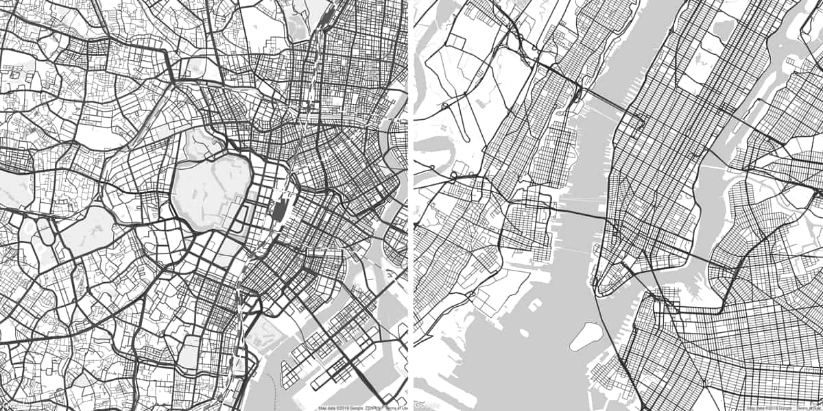 A comparison of the city grids of Tokyo (left) and New York City (right)