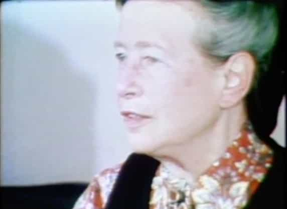 A picture of Simone de Beauvoir being interviewed