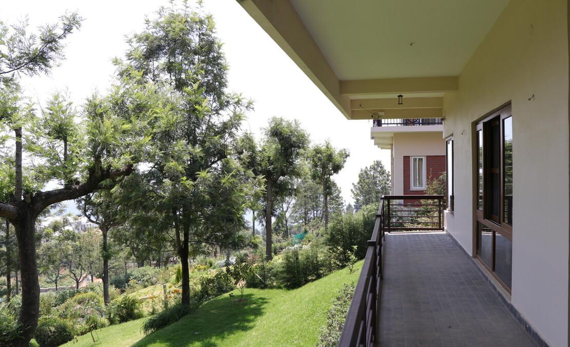 The covered verandah on the lower level