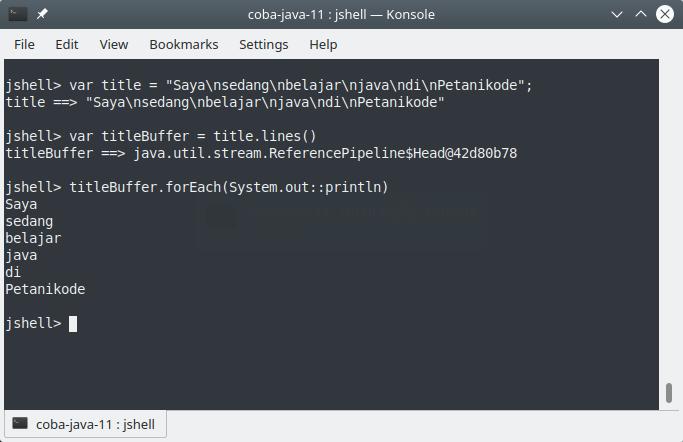 Method lines() pada Java
