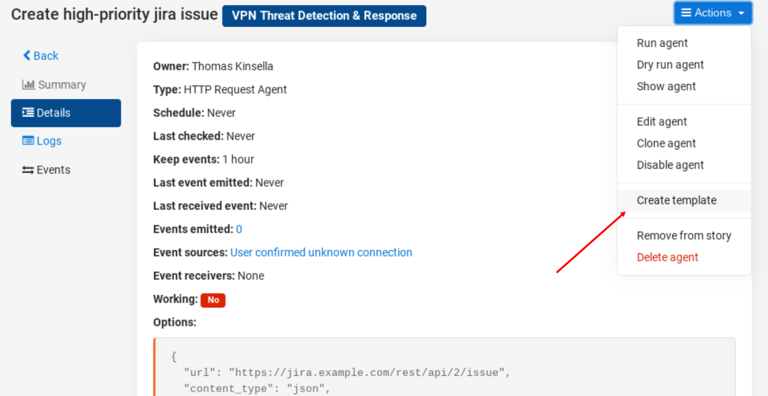 Create a private template from existing agent