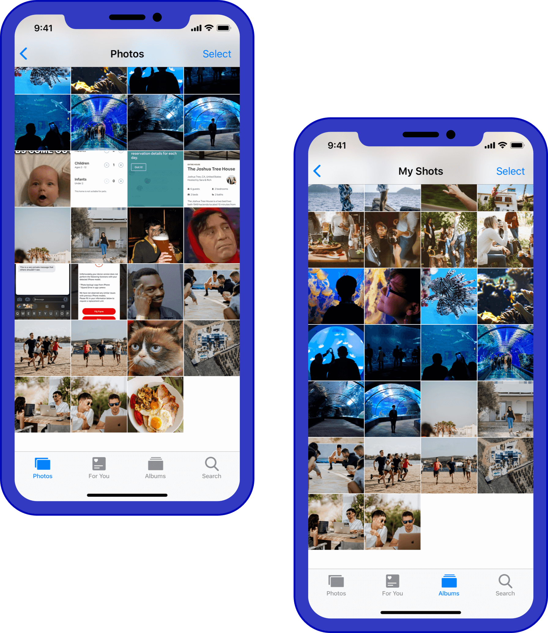 Simulation of two iPhones: one with the camera roll messy and the other with the album showing only the photos taken on that phone.