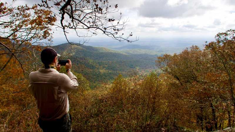 JA takes a photo at Owen's Overlook