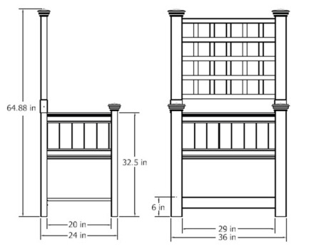 Bloomsbury Planter & Trellis wireframe dimensions