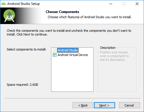 Android Studio Choose Components