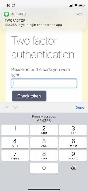 A web page shown in iOS Safari with a two factor authentication prompt. There is also a message notification with a two factor authentication code and the keyboard is auto suggesting the code to be filled in.