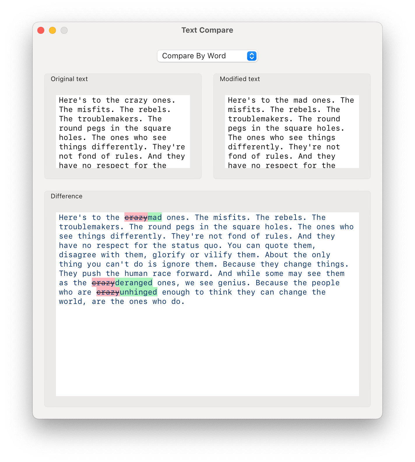 Screenshot of the Text Compare app