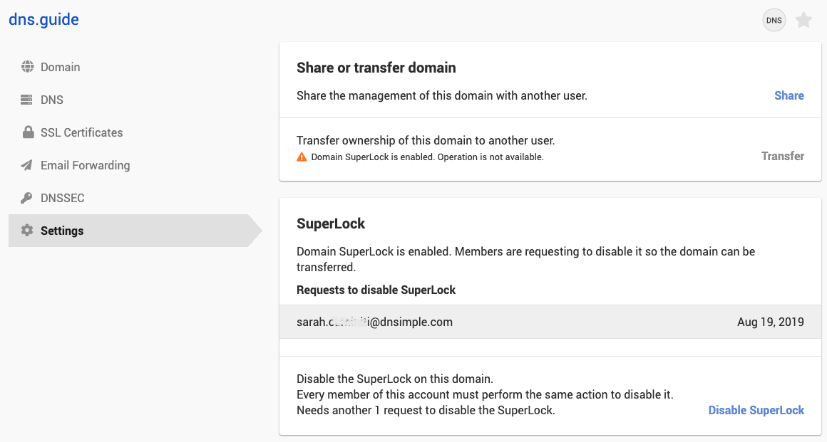 disabling the SuperLock in the settings page