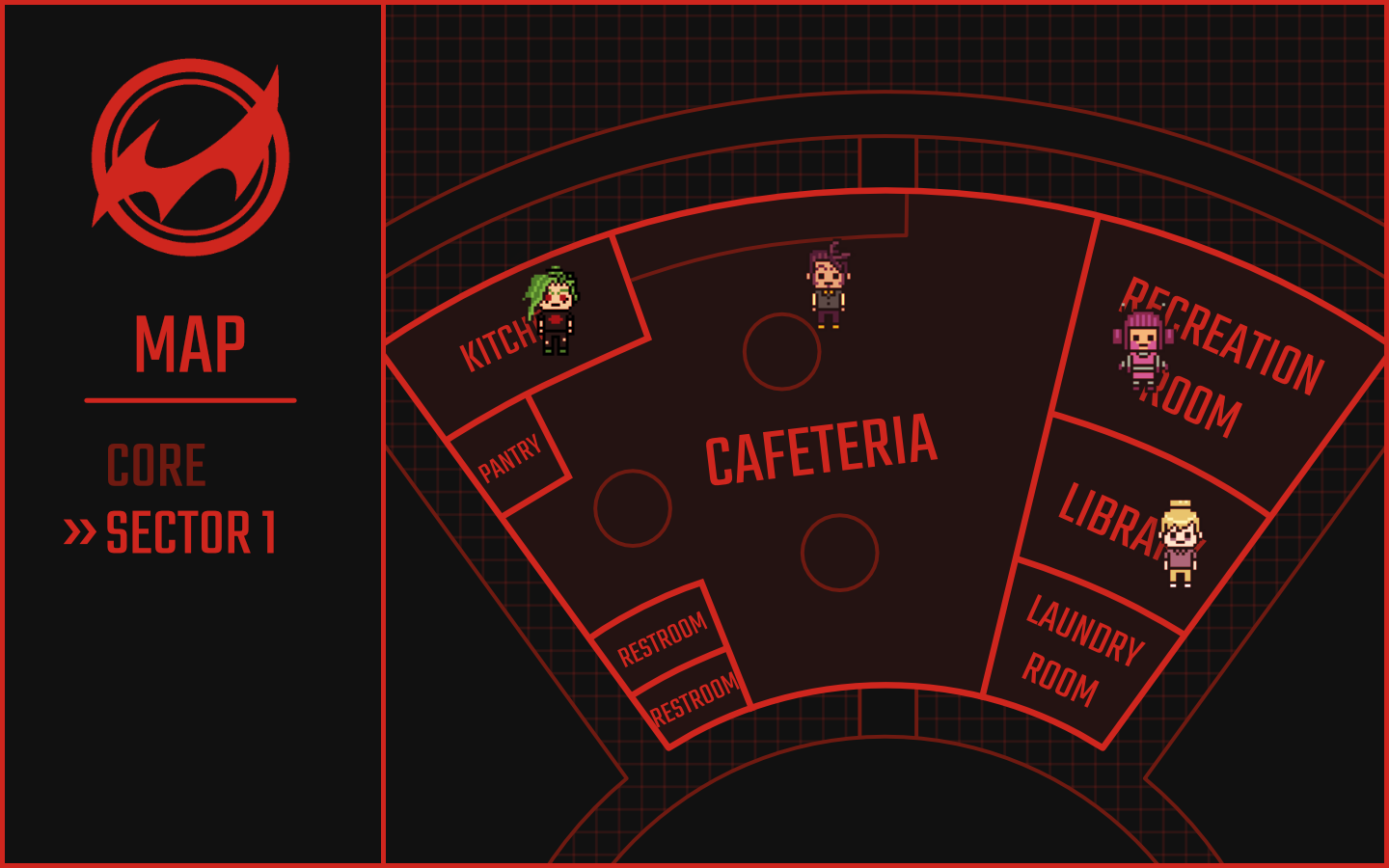 Map of Sector 01, showing where the available students are located. Jurou is in the kitchen, Nikola is in the cafeteria, Tiffani is in the library, and Ping is in the rec room.