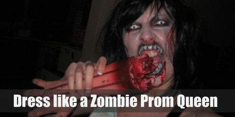 For a zombie prom queen, all you need is a beautiful prom gown, a tiara, a 'Prom Queen' sash, fake blood, and FX makeup.