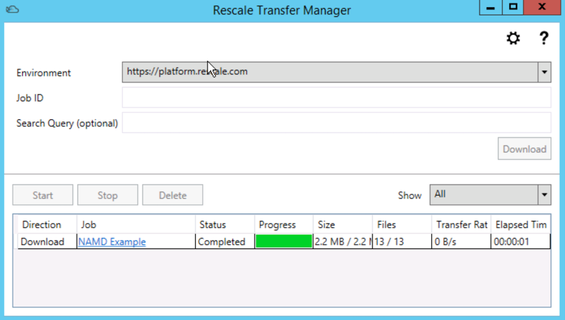 Rescale  File Transfer To Local Workstation