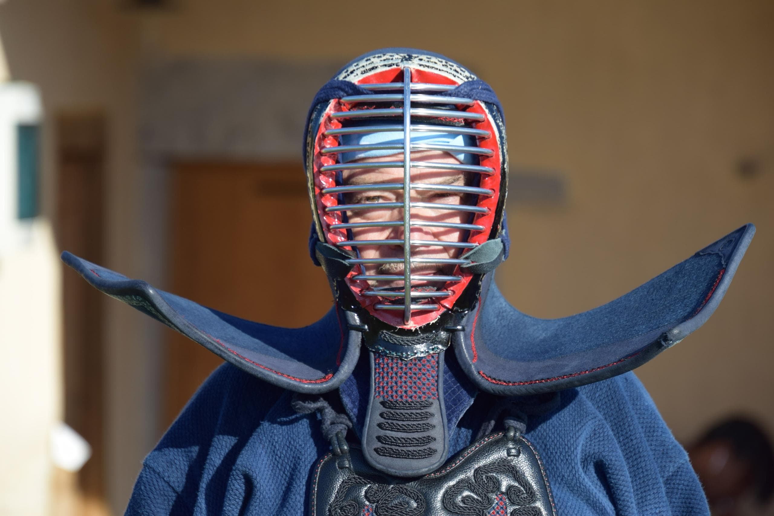 enseignant portant un men (casque en kendo)