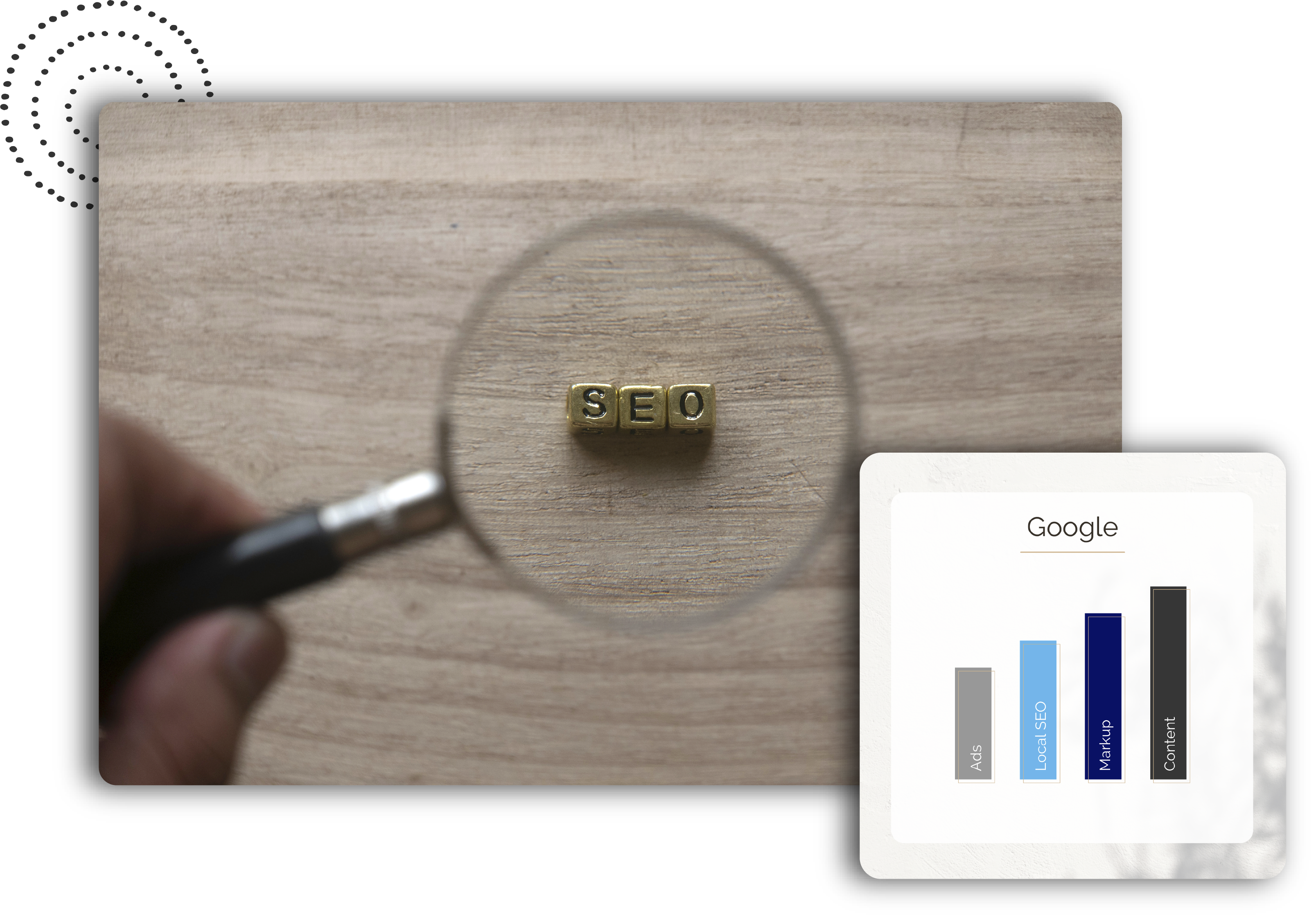 Magnifying flass over the word SEO spelled out in dice with an SEO graph