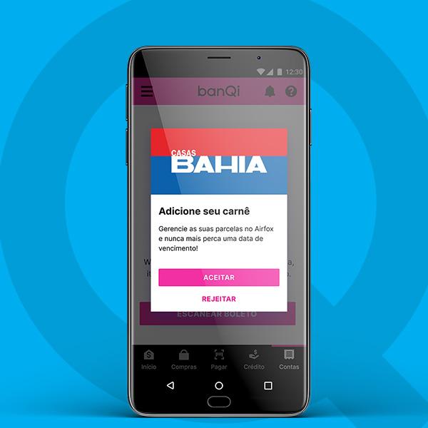 Screenshot do pop-up perguntando se você deseja aceitar ou rejeitar a adição de seu carnê das Casas Bahia em sua conta digital.