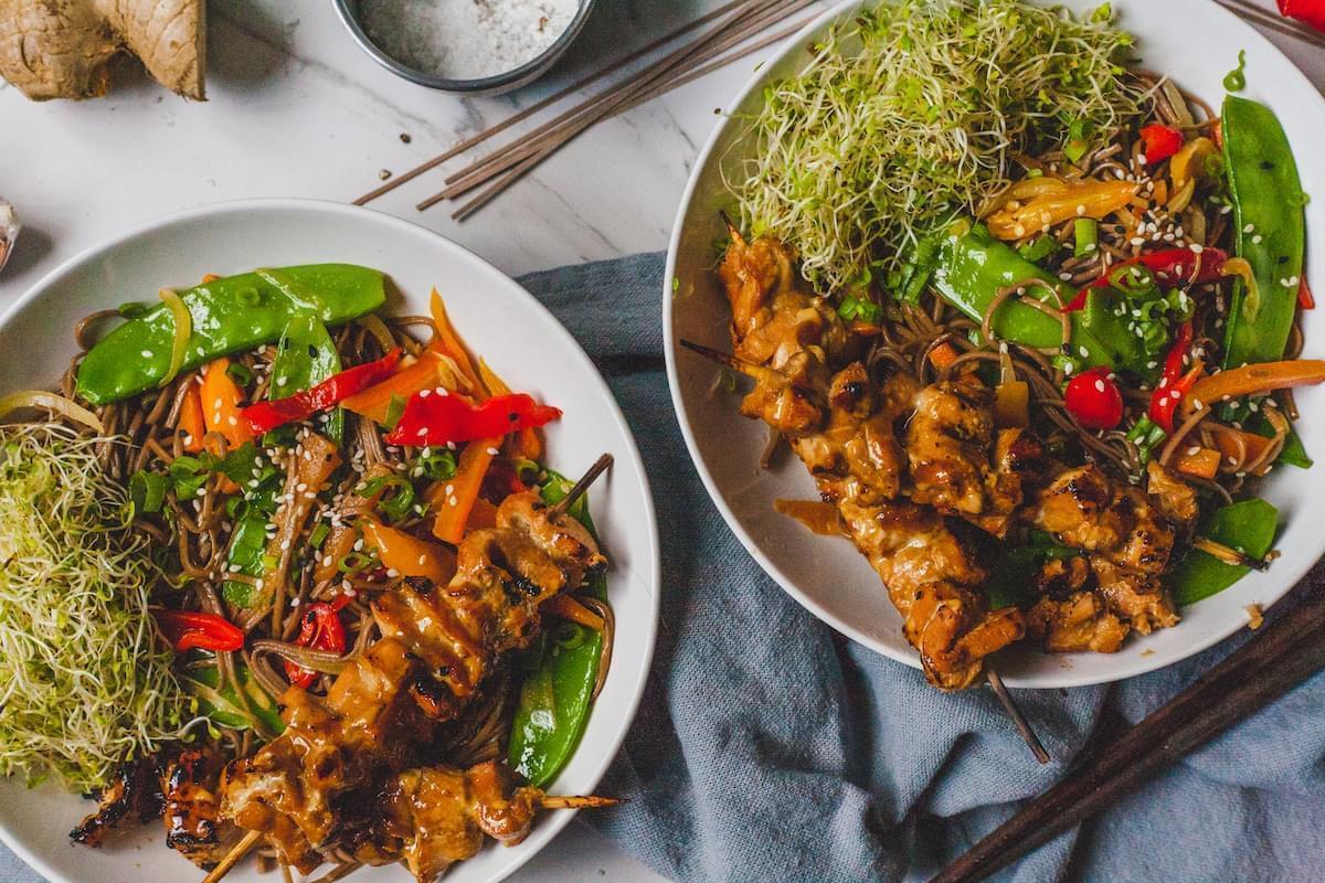 Terikayi Salmon Skewers With Sesame Buckwheat Soba Noodles