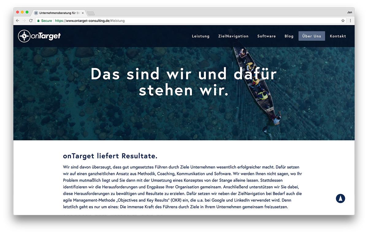 KreativBomber Webdesign Freiburg Projekt onTarget-Consulting - Über onTarget
