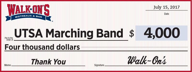 Walk-On's Donation to UTSA Marching Band