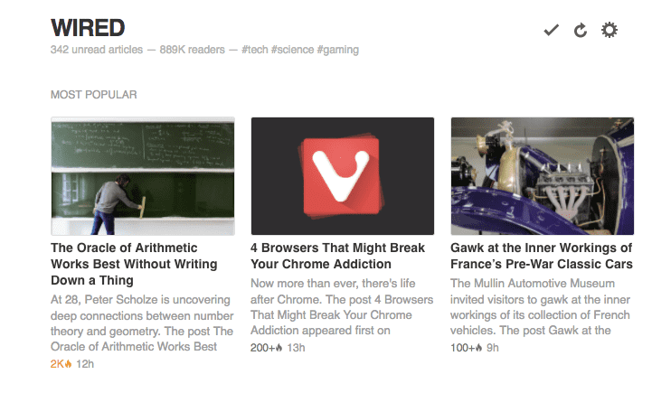 Feedly Popular Content