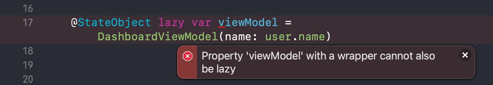 Property 'viewModel' with a wrapper cannot also be lazy