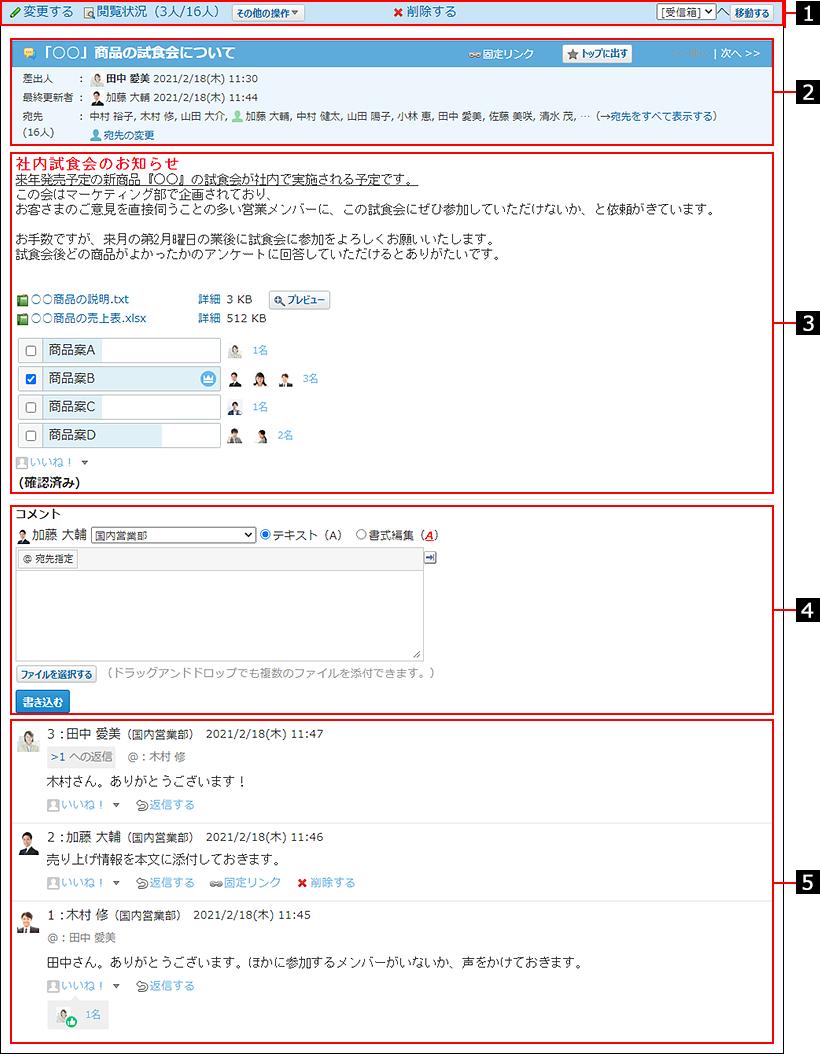 メッセージの詳細画面を説明する番号付き画像