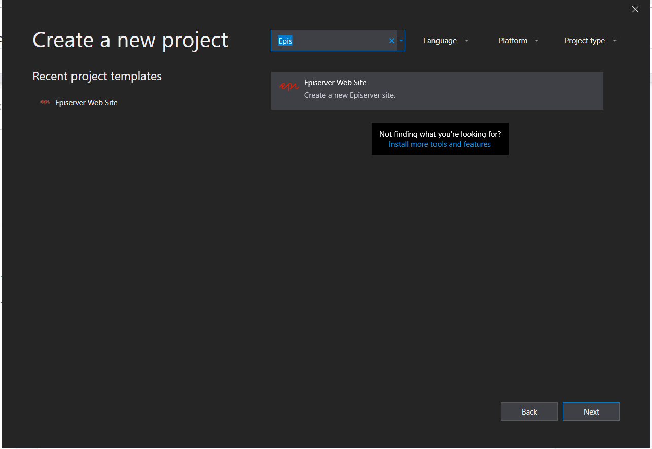 Visual Studio Episerver New Project template