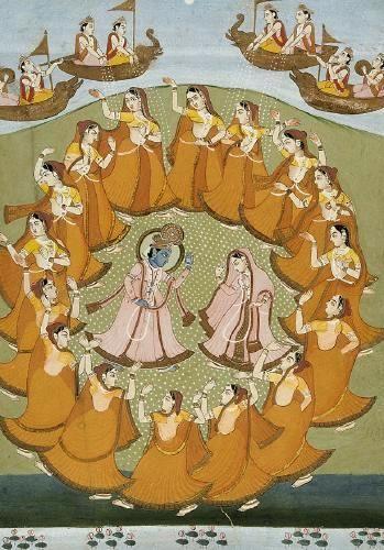 Krishna y Radha danzando. Rasalila