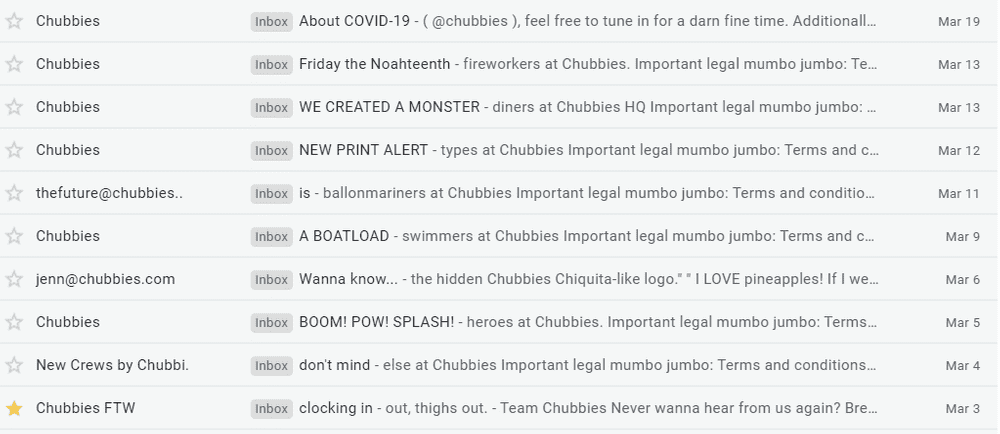 6 chubbies email frequency for customer retention